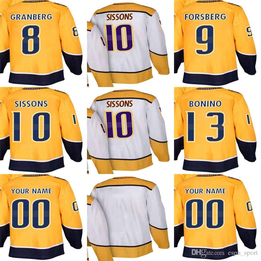 2018 Factory Outlet Mens Womens Kids Nashville Predators 8 Petter Granberg  9 Filip Forsberg 10 Colton Sissons 13 Nick Bonino Ice Hockey Jerseys From  ... e7780e526