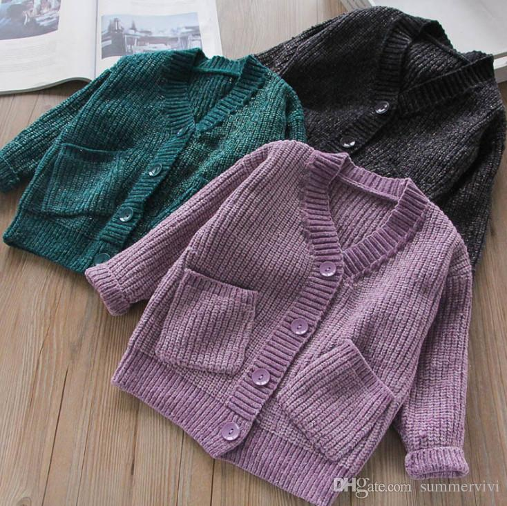 ab037014b9a3 Kids Cardigan 2018 Autumn New Girls V-neck Single Breasted Knitting ...