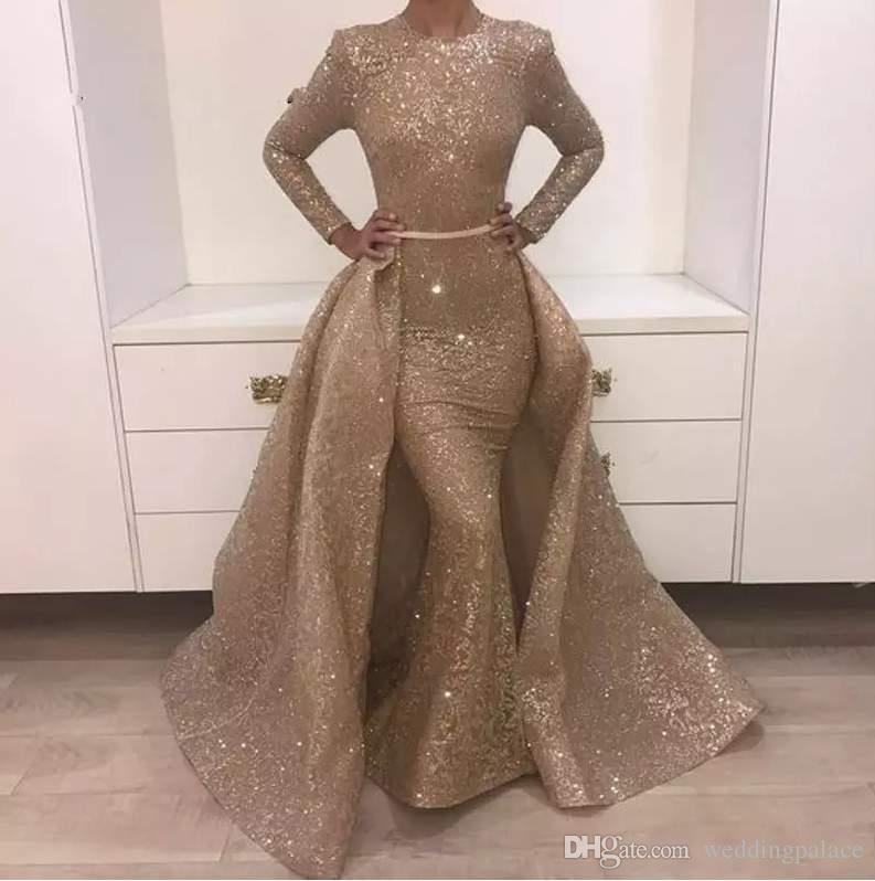 2018 sirène robes de soirée Jewel manches longues design unique Robes de soirée en dentelle avec Paillettes Perles cristaux formelles robes de soirée