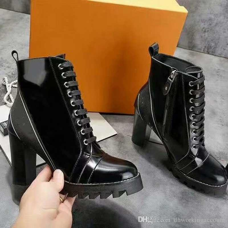 fade67e3a3a6 Black Patent Leather Lace Up Martin Boots High Heels Side Zipper Shoes  Latter Ribbon Patchwork Ladies Short Ankle Booties Boots For Men Girls Boots  From ...