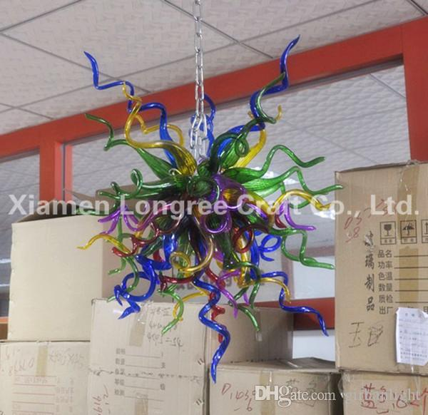 Multi Colored Handmade Blown Glass Chandelier Small Cheap Modern Art Glass Chihuly Style Italy Designed LED Chandelier for Hotel Decor