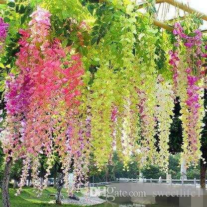 Wisteria artificial Falso Pendurado Folha De Seda Videira Flor Folha Garland Plant Início jardim decoração de casamento Cores para escolher