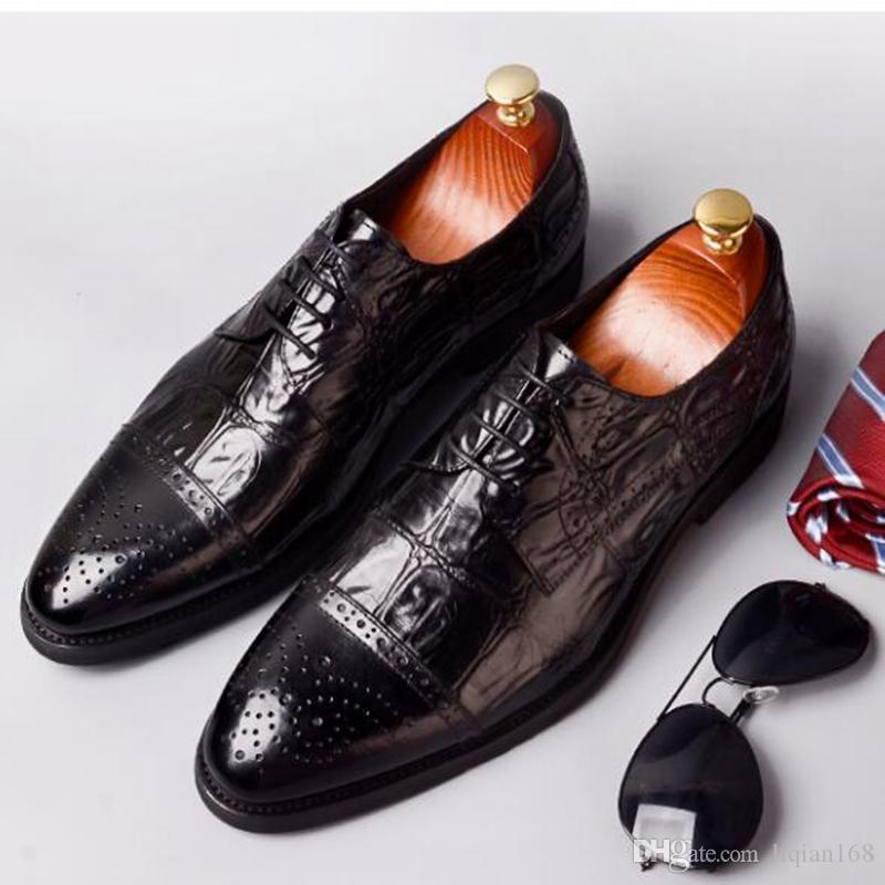 men business shoes genuine leather dress shoes mens wedding shoes lace-up Dress Crocodile grain Oxford