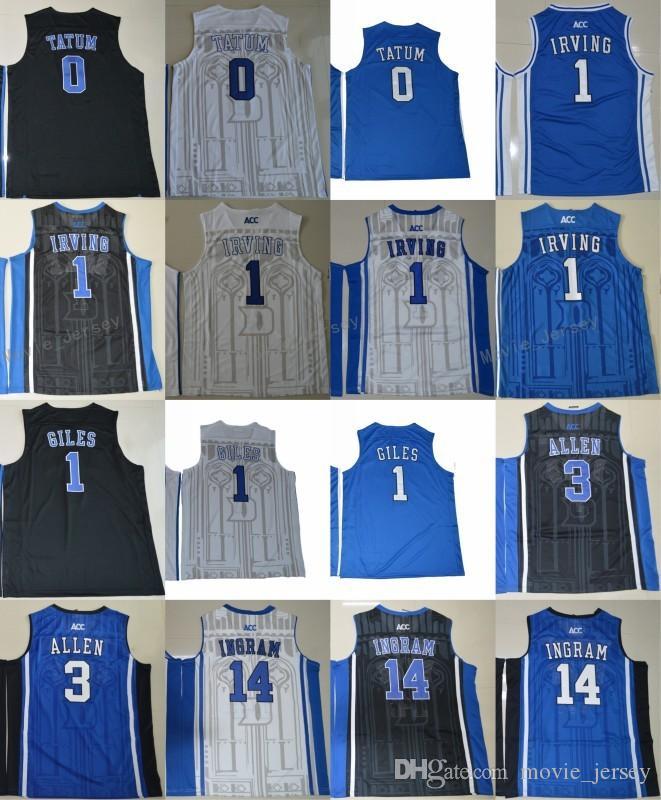 876f367ef5ee Acheter Duke Blue Devils College Maillots 1 Kyrie Irving 1 Harry Giles 3  Grayson Allen 14 Brandon Ingram 0 Jayson Tatum 4 Redickr Maillots Stitched  De ...