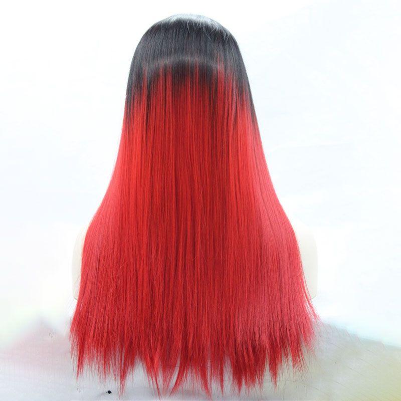 Macio Longo Em Linha Reta 1B Preto Ombre Vermelho Resistente Ao Calor Da Fibra Glueless Perucas Dianteira Do Laço Peruca Sintética para As Mulheres Negras