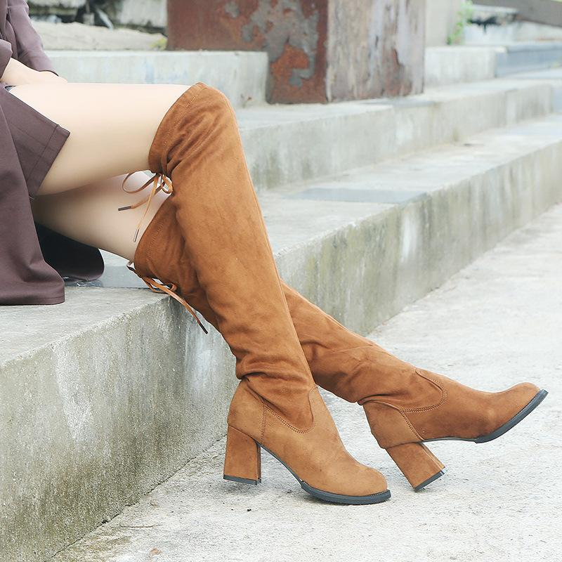 4ec542804c9 Thigh high boots women sexy high heels over the knee long boots ladies  autumn winter lace up overknee warm shoes plus size botas