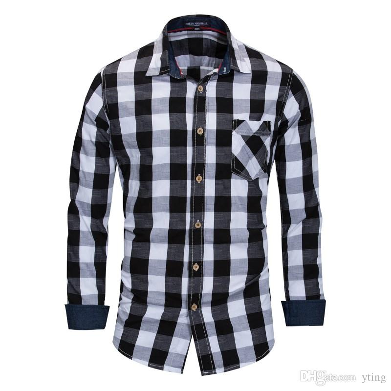 fe05656ffd2 2019 New Foreign Trade Plus Size Men S Cotton Long Sleeve Shirt Plaid Shirt  From Yting