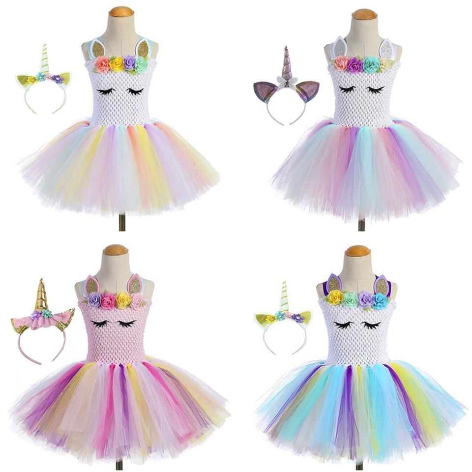 b2b539480cba 2019 Girls Lace Flowers Dress Princess Rainbow Unicorn Tutu Dress With  Headband Christmas Halloween Costume Kids Girl Party Dress Suit From  Pshava, ...