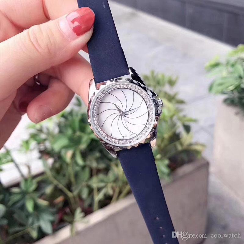 Rotazione mulino a vento delle donne della vigilanza migliore qualità orologi della manopola del cinturino in vera pelle orologi del quarzo eleganti le signore regalo ragazza
