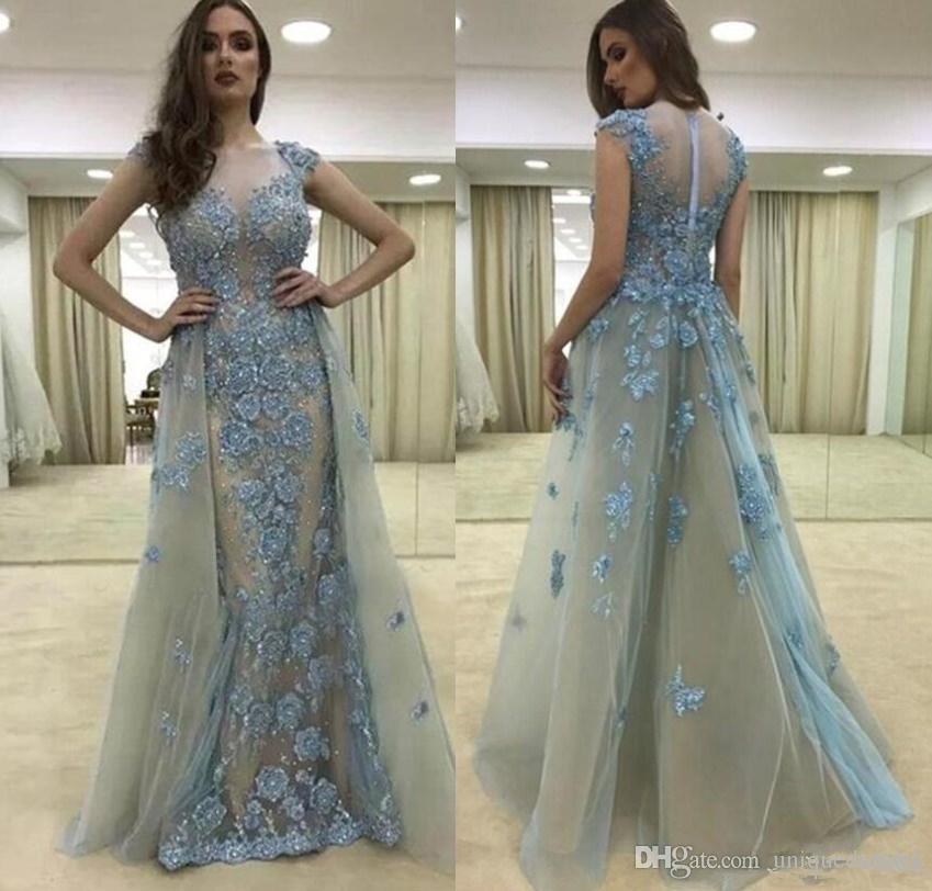 Grace 2018 Vestidos de Oriente Medio Ropa de noche con sobrefaldas Apliques Rebordear Sirena Gris Azul Vestido formal de baile Vestidos para niñas