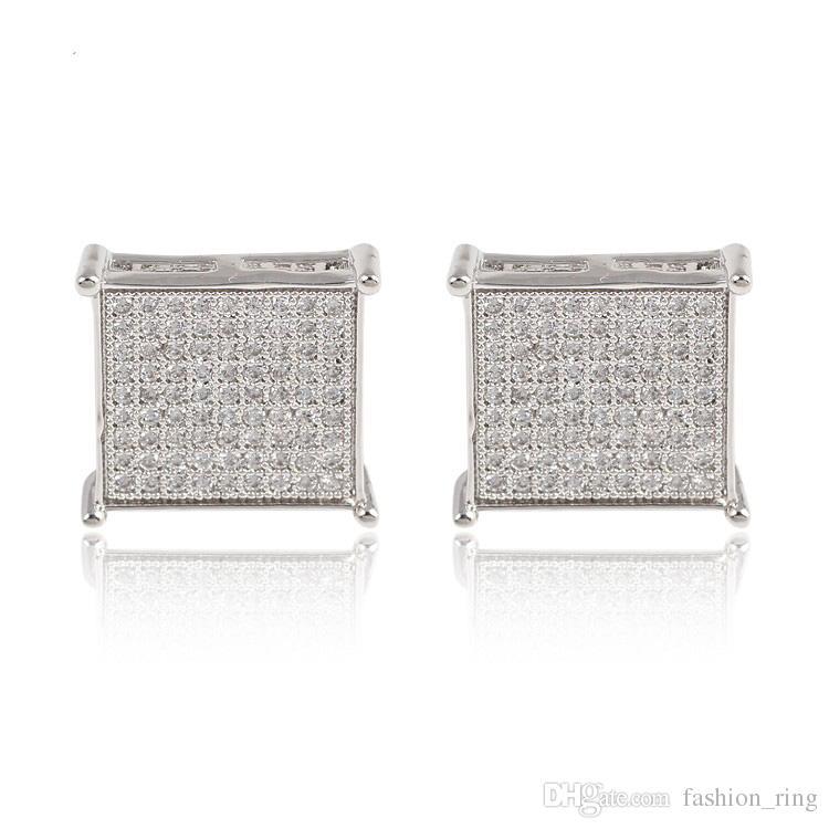 La más nueva Moda de moda cuadrado Stud Pendientes de oro lleno Cubic Zircon CZ Pendientes joyería de la boda para hombres mujeres