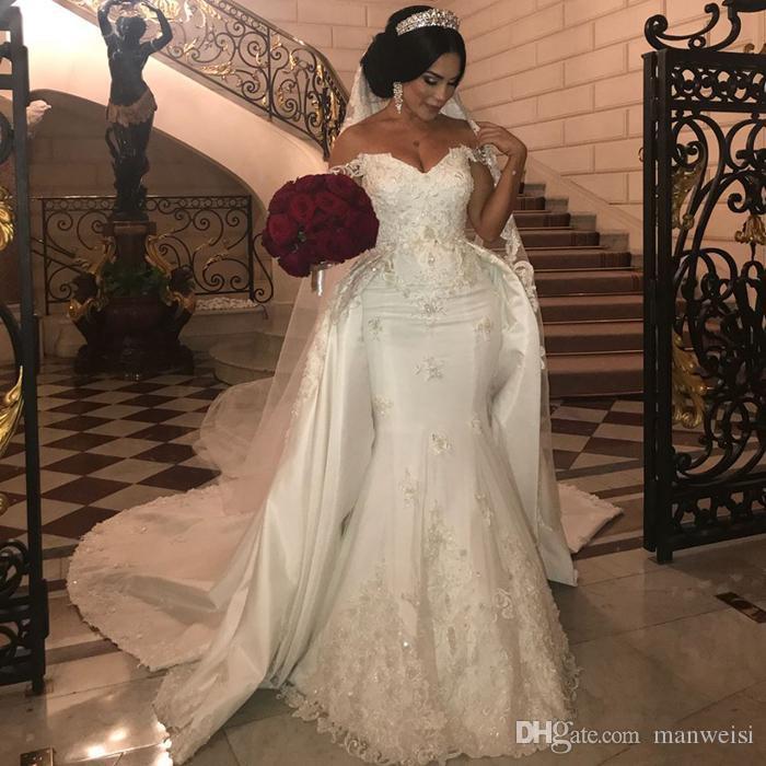 Eleganti abiti da sposa in pizzo in rilievo Abiti da sposa sirena con treno staccabile fuori spalla Applique Avorio Abito da sposa satinato