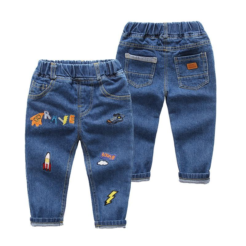 2018 Boys Jeans Pants Cute Cartoon Pattern Kids Jeans For Boys Fashion Elastic Waist Denim Trousers Summer Children Clothing