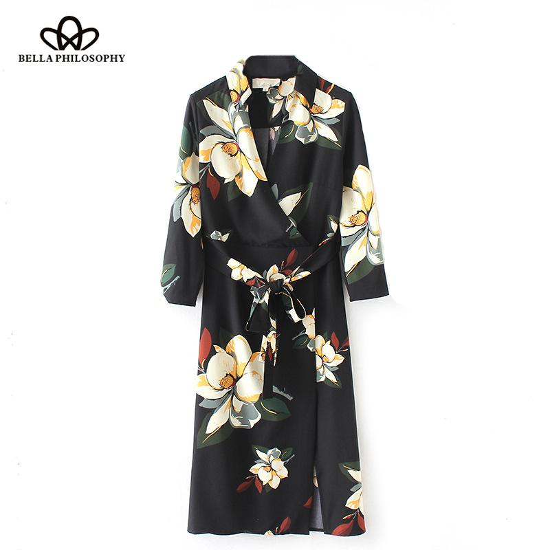 Bella Philosophy 2018 spring women long sleeve casual dress fashion print ladies mid calf dress V Neck loose female sashes