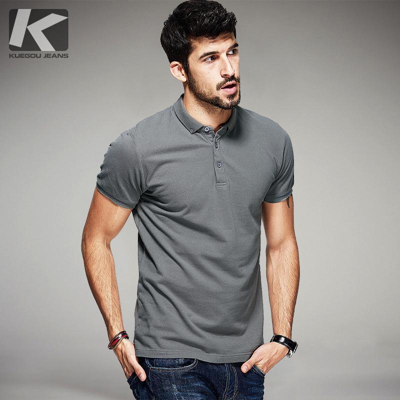 Acquista Kuegou New Summer Mens 100% Cotone Polo Nero Bianco Grigio  Abbigliamento Di Marca Man s Short Sleeve Abbigliamento Uomo Slim Top 1524  A  53.79 Dal ... c1df0f2dc48
