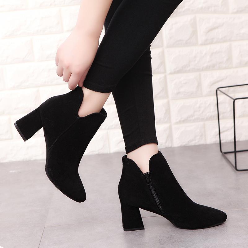 Estrecha Cuadrado Compre 75 Muslo De Martin Zapatos Para De Mujer De Mujer Cuero 29 PU Botas Tacón Punta Mujer Tobillo Alta A 2018 Negros Botas Moda Bomba fqFf8OwTr