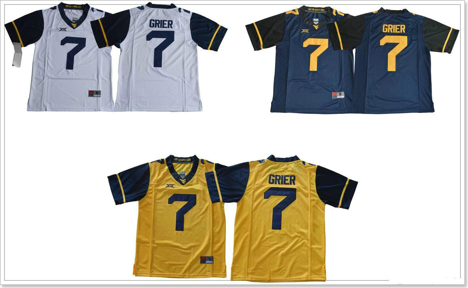 1f326eee0 West Virginia Mountaineers  7 Will Grier Mens Vintage College Team American  Football Pro Sports Jerseys Shirts Uniforms Stitched Embroidery Online with  ...