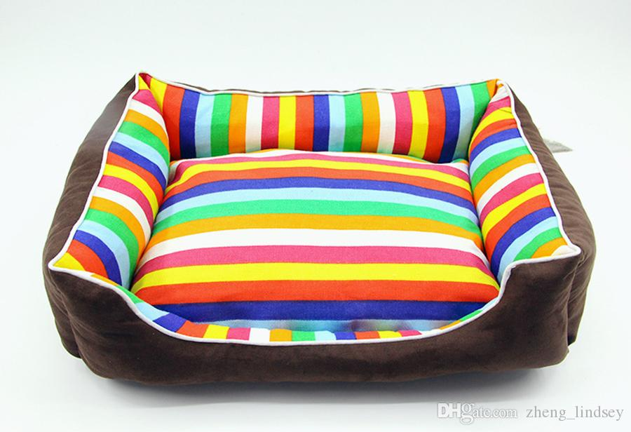 Rainbow Colorful stripe pet bed for animals puppies dog beds for large dogs cat house dog bed mat cat sofa cushion supplies