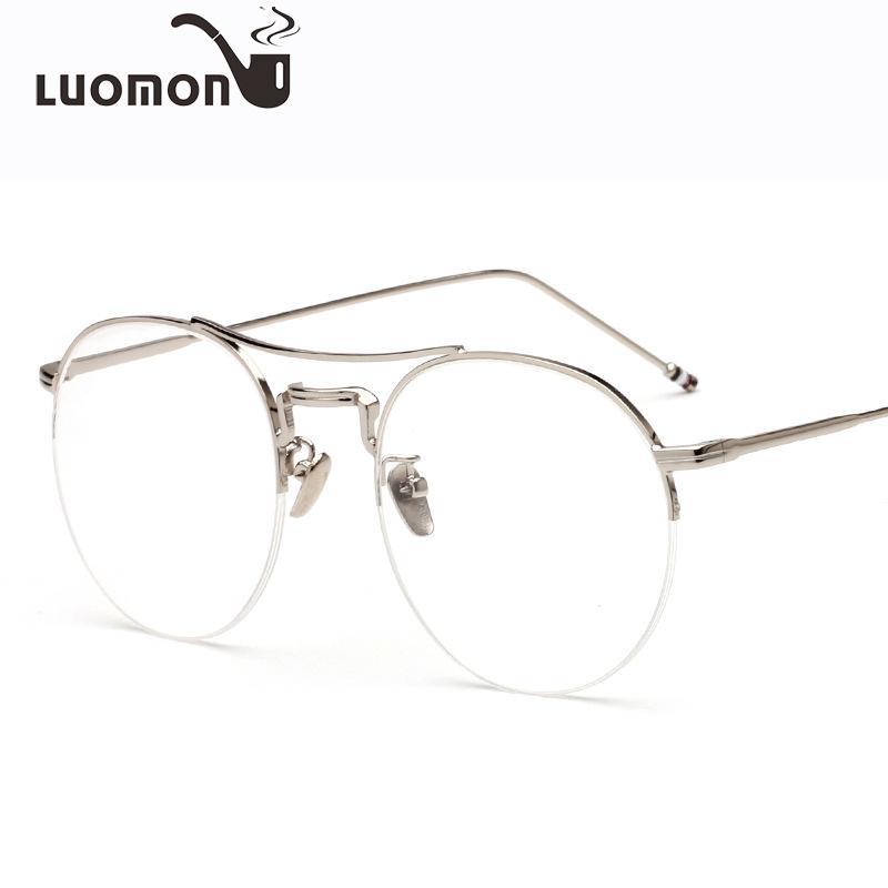 635e9a9002 2019 LUOMON 2018 New Round Metal Half Frames Glasses Frame For Men Women  Eyewear Accessories Flat Mirror Myopia Optical Retro Eyewear From Poety