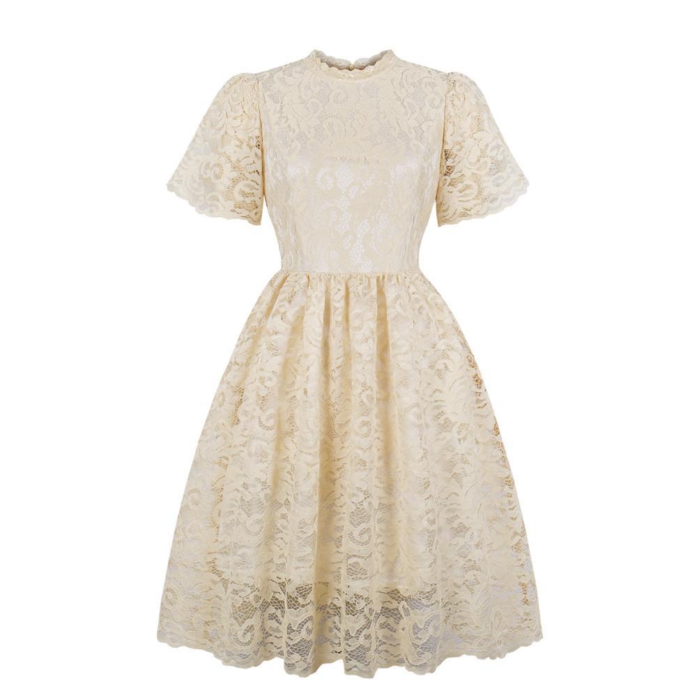 Plus Size Lace Vintage 60s 50s Dress Short Sleeve Beige Retro Hepburn Style  Party Lace Big Swing Dress Robe Vestidos Femme 2019