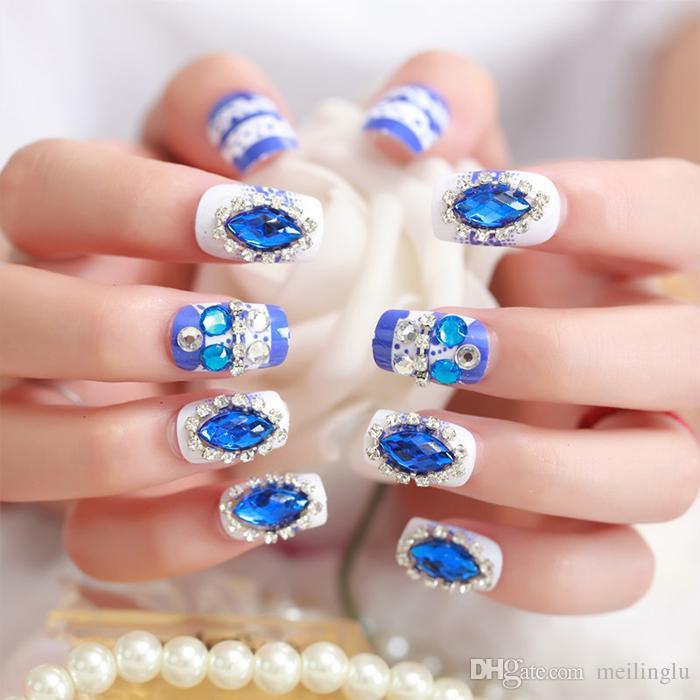 Blue Bridal Full Nail Tips Blue Diamond False Nails 3d Exquisite ...