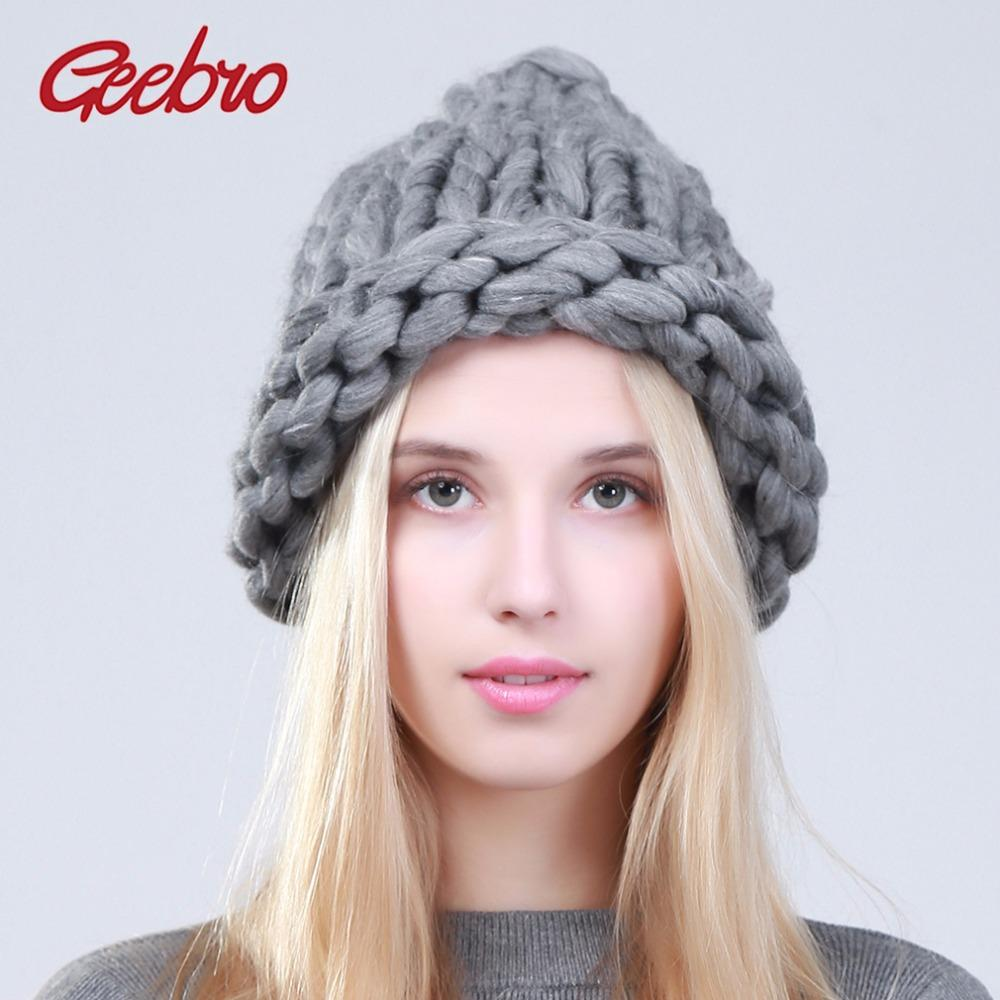 Geebro Women Winter Warm Beanies Hat Handmade Thick Knitted Coarse Lines  Cable Hat Candy Color Crochet Caps Female Beanie Hats Knit Hats Cheap Hats  From ... b27d6719921