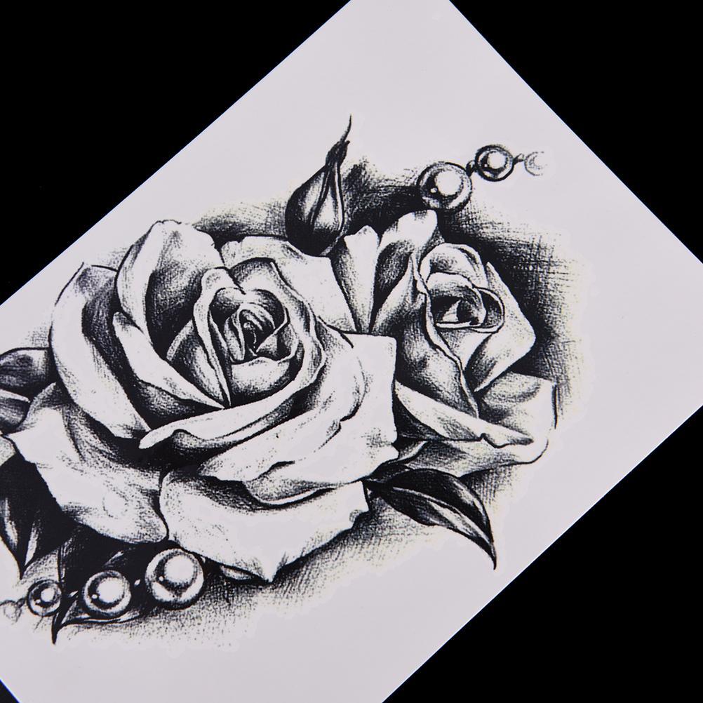 Acheter Rose Fleur Decal Tatouage Transfert De Leau étanche