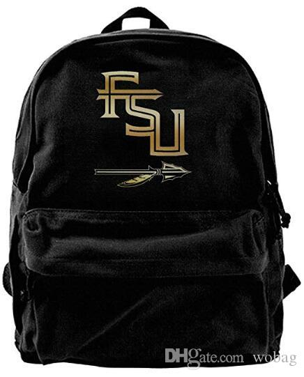 2e30026018f6 Florida State Seminoles Gold Style Logo Canvas Shoulder Backpack Backpack  For Men   Women Teens College Travel Daypack Black Backpacks For College  Backpacks ...