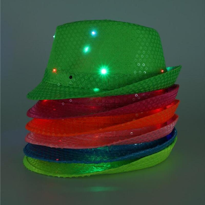 Christmas Adults LED Flashing Fluorescence Sequins Jazz Hat Light Up Hip Hop Hats Dance Performance Show Birthday Party Favor 30th Supplies