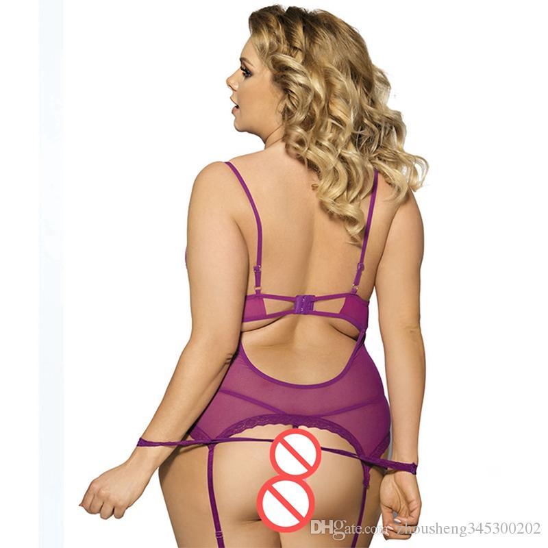 Large Size Sexy Underwear Nightdress Garter Lace Skirt Sexy Panties Thong Perspective See-Throug Lace Slip Dress With Handcuffs