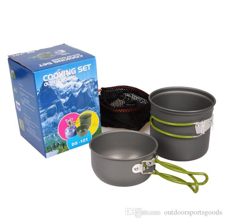 Купит! Оптовая набор для приготовления пищи на открытом воздухе горшок 1-2 человек портативные кемпинги легкие и быстрые 2 штуки набор горшок