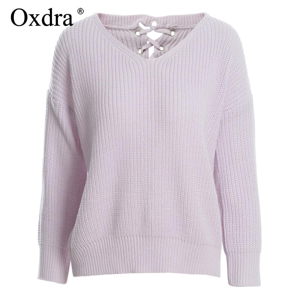 Compre Oxdra 2018 Suéteres Suéteres Sueltos V Cuello Sólido Suéter ...