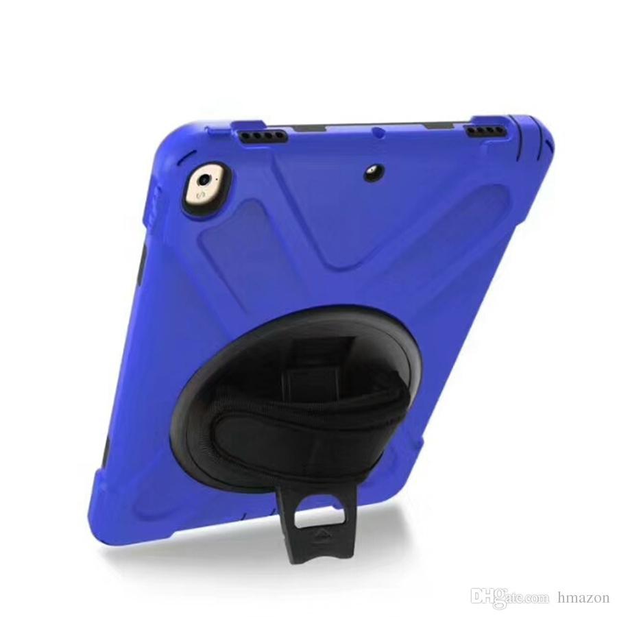 pour 2017 nouvel iPad pro 10,2 9,7 air 2 mini-5 SAMSUNG T510 P580 T820 T810 T377V Béquille 360 degrés Rotatif Tote Dragonne antichocs Case
