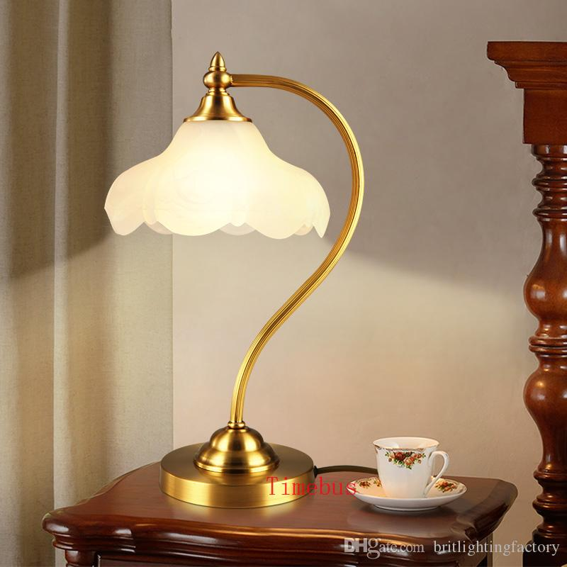 Simple desk lamp American Rural creative Study learning all copper Desk lamp Office led glass table lights Girls room table lamp