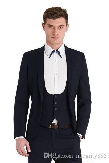 2929c45bf96 New Style Navy Blue Slim Fit 3 Piece Suit Men Wedding Tuxedos Excellent  Groom Tuxedos Men Business Dinner Prom Blazer(Jacket+Pants+Tie+Vest)