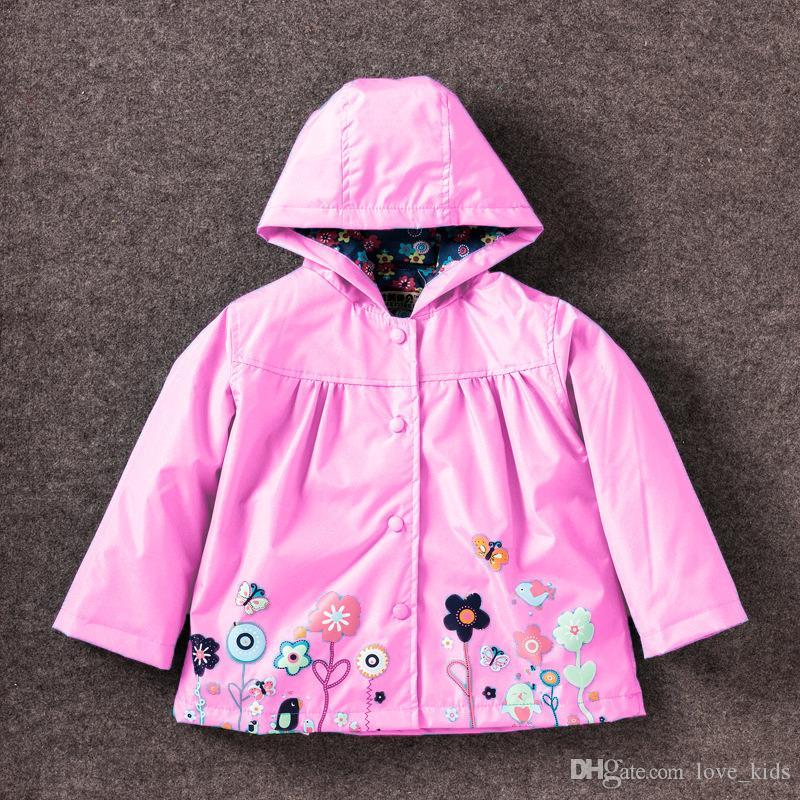 Girls flower Raincoat Kids Fashion Winter Coat Flower Raincoat Jacket For Windproof Outwear Raincoat Windbreaker