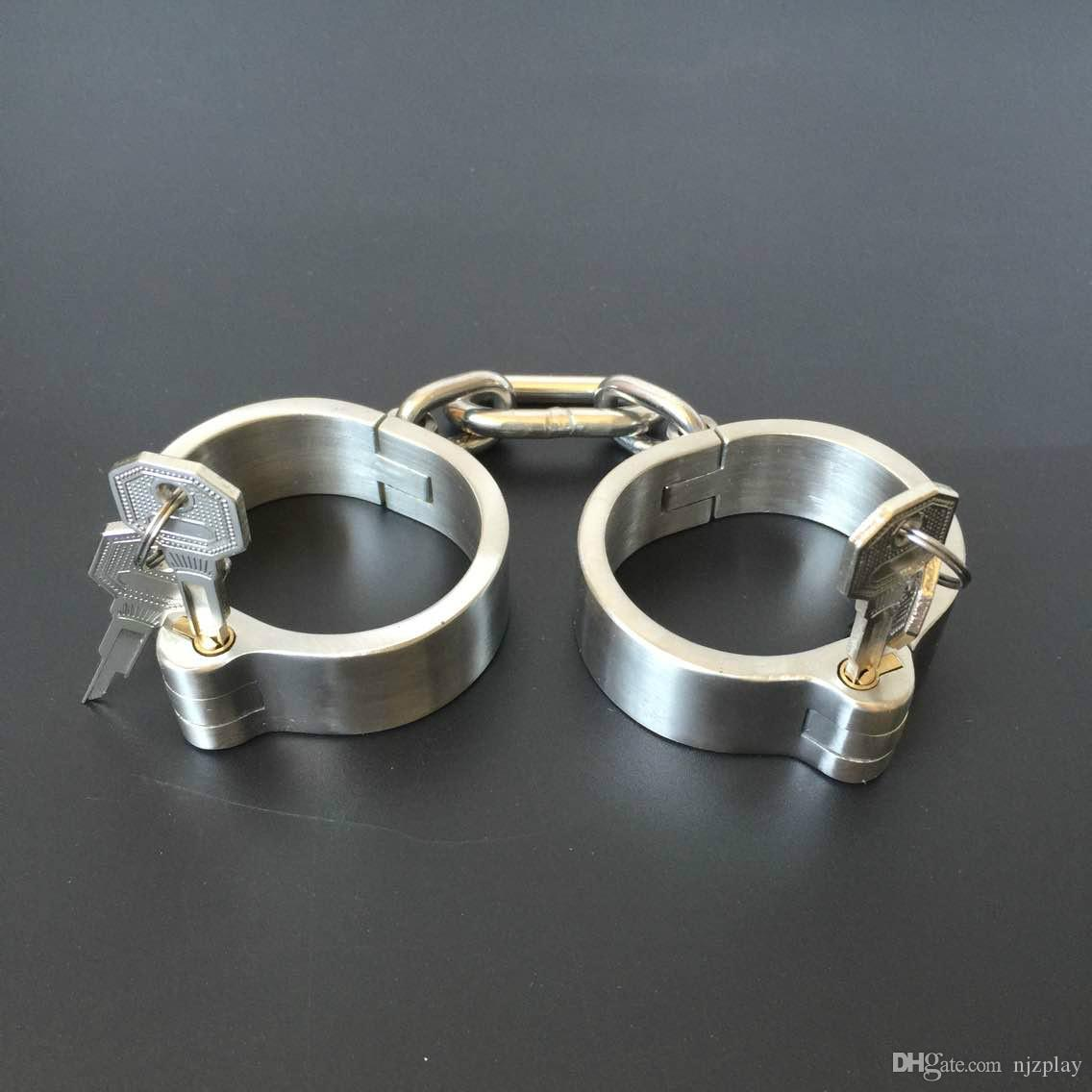 Hot sale!!!Unisex Stainless Steel Handcurffs Ankle Cuffs Collar Bondage Gear BDSM Toys And Sex Toys