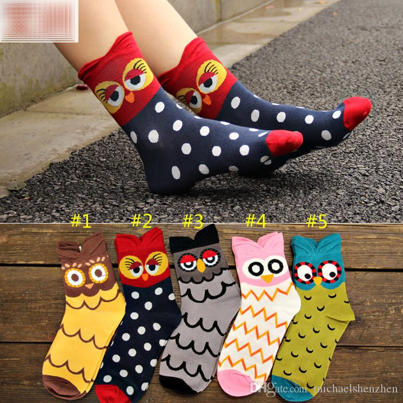 4 colores Corea estilo Cartoon Stereo Owl Socks mujeres Big Girl 85% algodón Cartoon Socking medio tubo calcetines B001