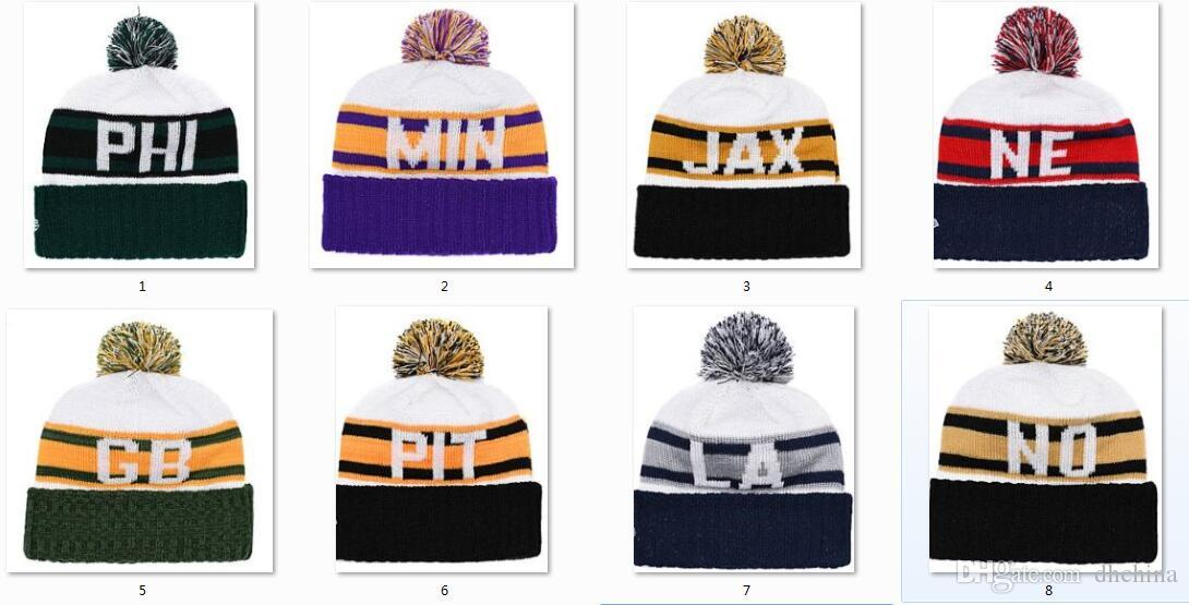 009eed1f438 New Beanies Football Beanies Retro Cuffed Sport Knit Hat Pom Pom Hats Hot  Team Color Knits Mix Match Order All Caps Beanies Knit Hats Online with ...