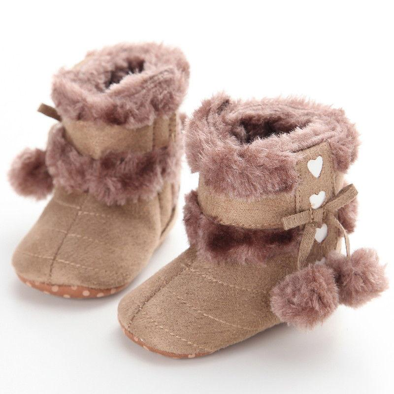 d0fd67ed91dd1 New Cute Infant Baby Girls Snow Boots Winter Warm Boots Newborn Toddler  Thick Heart Double Ball Crib Shoes 0 18M Toddler Winter Boots For Boys Girls  And ...