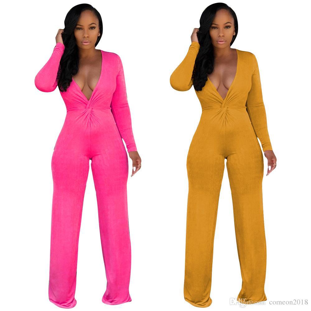 e126852c3047 Women Clothes Designer Bodycon Jumpsuit Solid Color Sexy Women ...