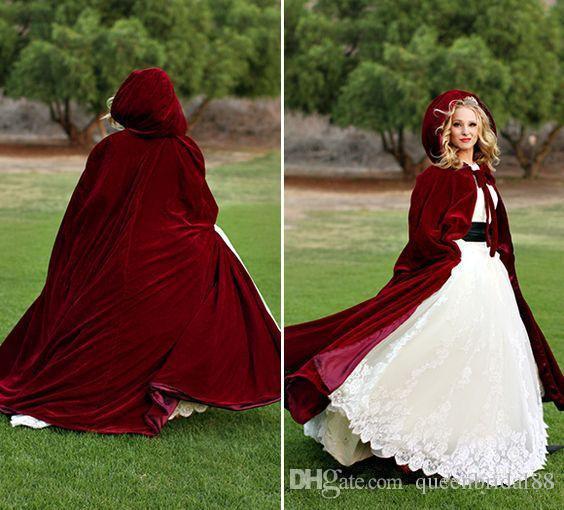 Fashion Long Velvet Bridal Wraps with Conjoined cap Women Shawl/Cloak for Wedding Party Banquet Bolero&Jacket