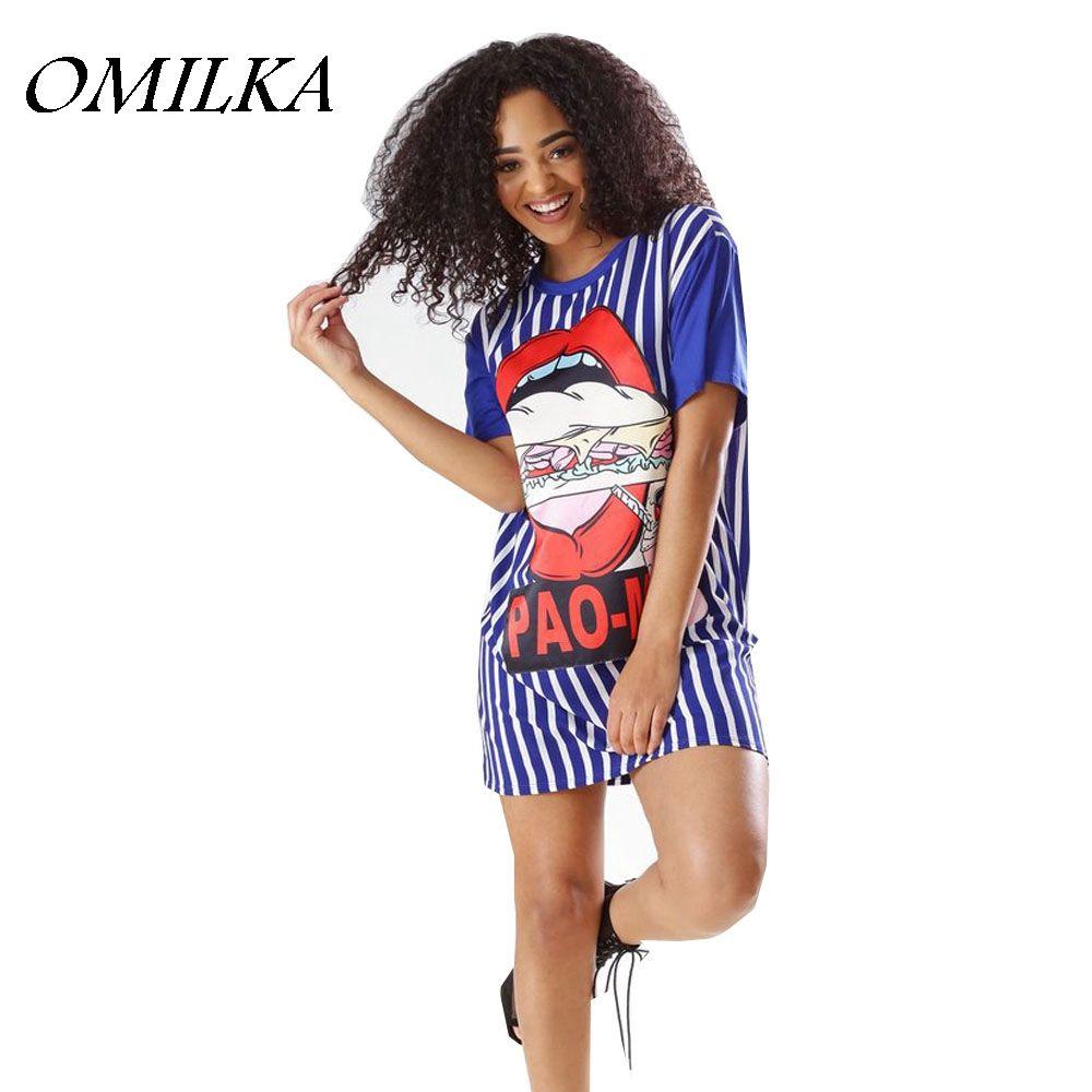 a06b813bf366 OMILKA Cartoon Printed T Shirt Dress 2018 Summer Women Short Sleeve O Neck  Striped Casual Loose Baseball Harajuku Hip Hop Dress Semi Formal Dresses  Black ...