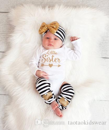 6357833e8f82 2019 3 24M Baby Girl White Stripe Romper + Headdress + Leg Socks ...