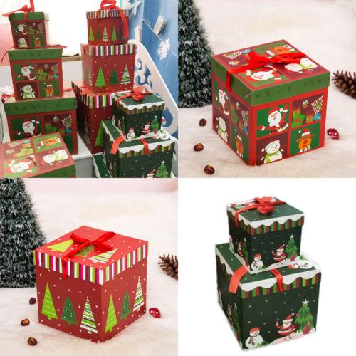 2018 new 1015cm christmas gift boxe decoration xmas favour gift box candy box christmas santa claus case gift wrapped presents gift wrapper paper from