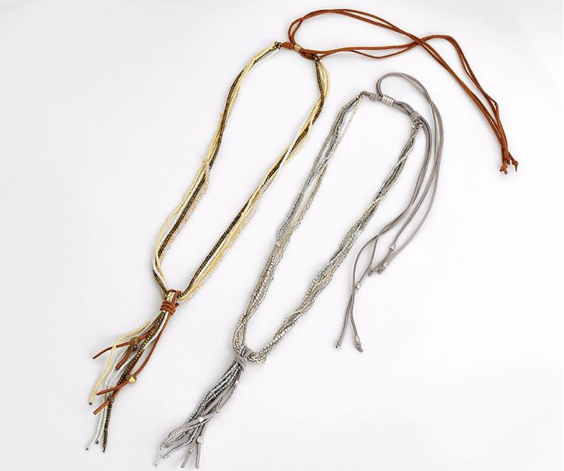 Bohemian Ethic Long Necklace Delicate Handmade Multi-layered Necklace Jewelry Original Design Beads Leather Necklace Women Girls Jewelry