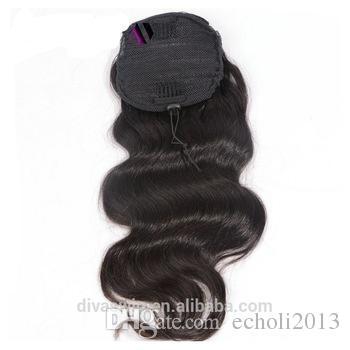 Sıcak satış İnsan Saç At Kuyruğu bakire Brezilyalı saç uzun gevşek dalgalı İpli At Kuyruğu Extensinons 8A sınıf Ücretsiz kargo 18 inç # 1b 140g