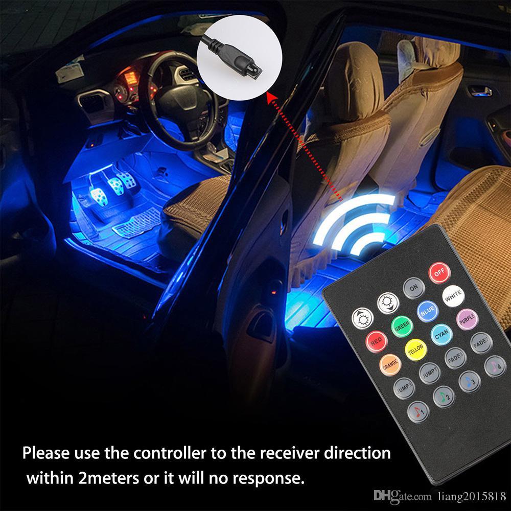 4 UNIDS 12 LED 5050 SMD Interior de la Lámpara de la Atmósfera Del Coche Auto 12 V RGB Luces de Neón Control de la Música de tira + Remoto IR Nuevo