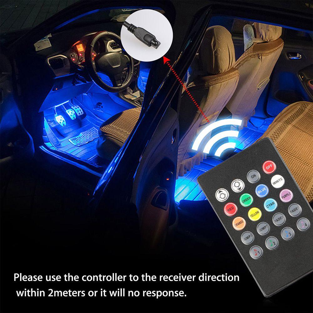 12 LED SMD 5050 Ambiente del interior del coche lámpara auto 12V RGB luces de neón tira de la música de control remoto IR + Nuevo