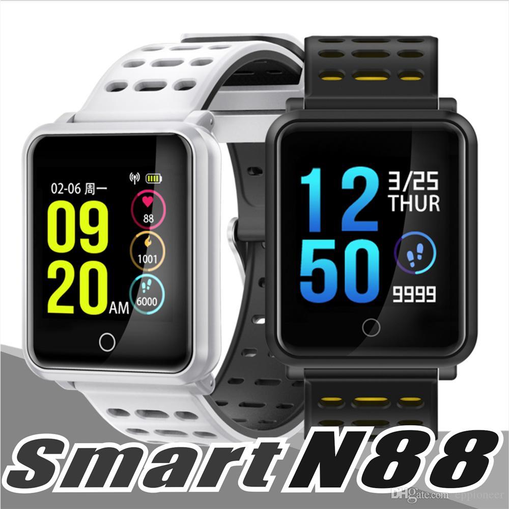 0e29850166c5 Comprar Relojes N88 Reloj Inteligente Hombres Smartwatch Mujeres Impermeable  De Frecuencia Cardíaca Monitor De Presión Arterial Pulsera Deportiva  Fitness ...